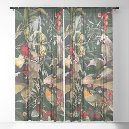 Floral and Birds XXV Sheer Curtain