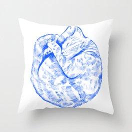 La sieste du chat - Blue illustrated cat Edit Throw Pillow