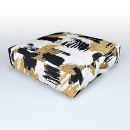 Artistic abstract black gold watercolor brushstrokes Outdoor Floor Cushion
