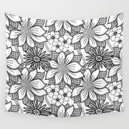 Black and White Floral Drawing Wall Tapestry