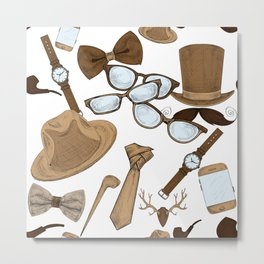 hipster accessories pattern on white Metal Print