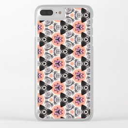 Handmade Pink and Black Kaleidoscope Pattern Clear iPhone Case