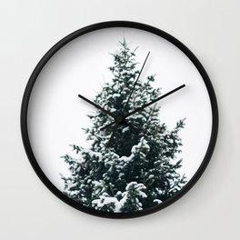 Snowy Pine Wall Clock