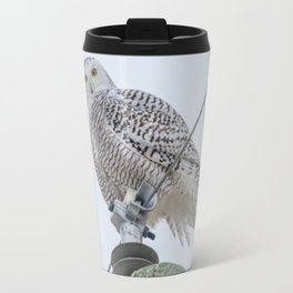 Snowy Owl on Power Lines Travel Mug