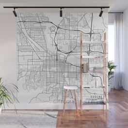 Eugene Map, USA - Black and White Wall Mural