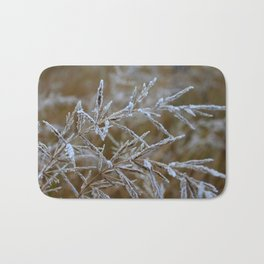 Ice frozen on plant branches in winters Bath Mat