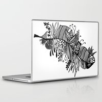 banana leaf Laptop & iPad Skins featuring Banana Leaf Black & White Doodle Art by martywoodskk