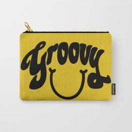 Groovy Smile // Black Smiley Face Fun Retro 70s Hippie Vibes Mustard Yellow Lettering Typography Art Carry-All Pouch