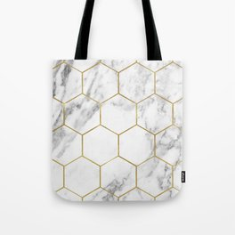 Gold marble hexagon pattern Tote Bag