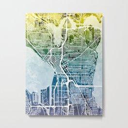 Seattle Washington Street Map Metal Print