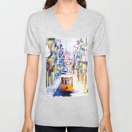 Lisbon Watercolor Cityscape Unisex V-Neck