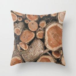 Cut Wood Texture Photograph Throw Pillow