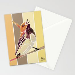 Watercolor Unicorn Song bird // Rustic Barn Wood Stripe Background Stationery Cards