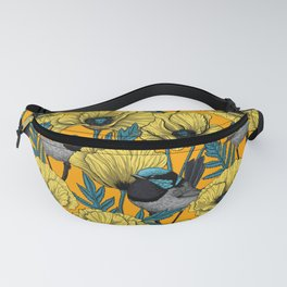Fairy wren and poppies in yellow Fanny Pack