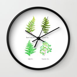 fern collection watercolor Wall Clock