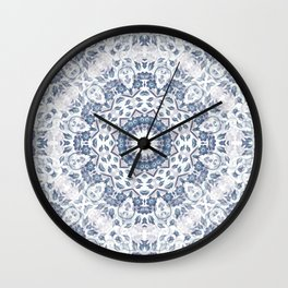 Grayish Blue White Flowers Mandala Wall Clock