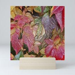 Glossy autumn leaves Mini Art Print