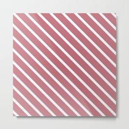 Dusk Pink Diagonal Stripes Metal Print