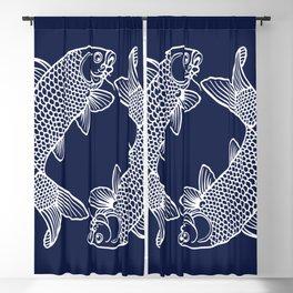 Navy Blue Koi Minimal Blackout Curtain