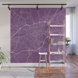 Athens Map, USA - Purple Wall Mural