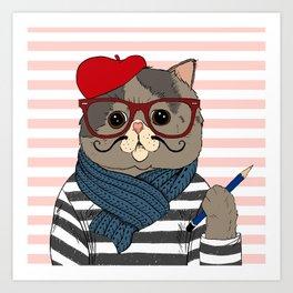 French Cat Art Print