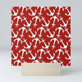 Maritime Nautical Red and White Anchor Pattern - Anchors Mini Art Print