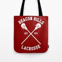 lacrosse Tote Bags featuring Beacon Hills Lacrosse by Meg!