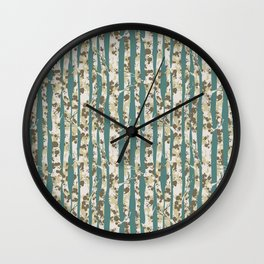 Inky Silver Birches - Ice Blue Wall Clock