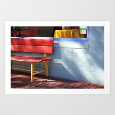 Red Bench Art Print