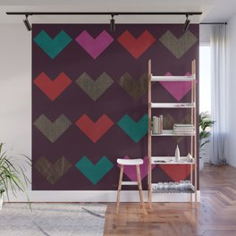 leather geometric love on dark purple Wall Mural