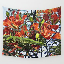 Royal Poinciana Tree Full Bloom Wall Tapestry