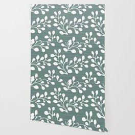 Greenery Leaves on Jade Wallpaper
