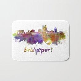 Bridgeport skyline in watercolor Bath Mat