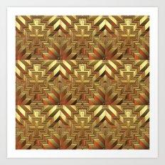 Golden Patchwork Art Print