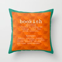 tote bag Throw Pillows featuring Bookish tote bag design by Artistic Home Decor