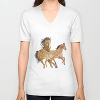 horses V-neck T-shirts featuring Horses by Stag Prints