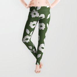 Simple Hand Cut Floral | Green Leggings