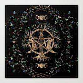 Tree of Life Pentagram Moon Ornament Canvas Print