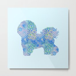 Bichon Frise Dog Vintage Floral Pattern Blue Green Turquoise Shabby Chic Metal Print