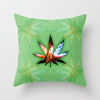 marijuana Throw Pillows featuring Marijuana Leaf - Design 1 by Spooky Dooky