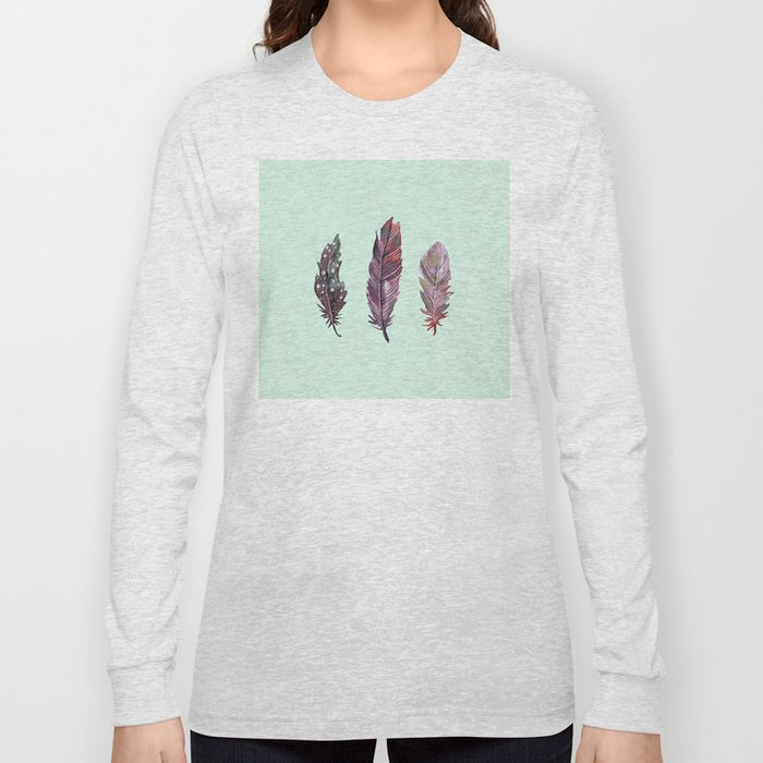 watercolor feathers (mint green) dos Long Sleeve T-shirt