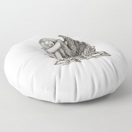 A sleeping Angel , Black and white Design Floor Pillow