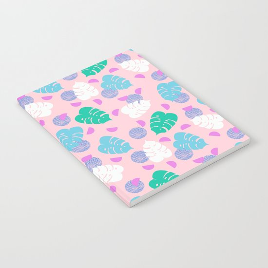 Monstera leaf house plant abstract modern print neon pink pastel summer vacation palm springs  Notebook