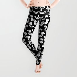 Bold white on black squiggle tiles, abstract shapes and lines, tribal and ethno-inspired Leggings