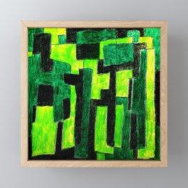 Three Green Puzzle Framed Mini Art Print