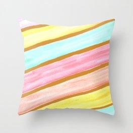 Retro Watercolor Stripes  Throw Pillow