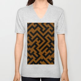 Black and Chocolate Brown Diagonal Labyrinth Unisex V-Neck
