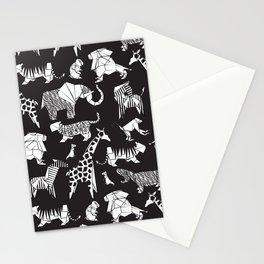 Origami safari animalier // black background white animals Stationery Cards
