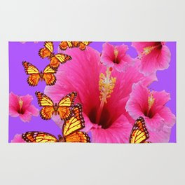 DECORATIVE MONARCH BUTTERFLIES  PINK HIBISCUS   PURPLE ART Rug