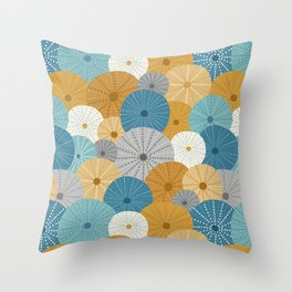 Sea Urchins in Blue + Gold Throw Pillow